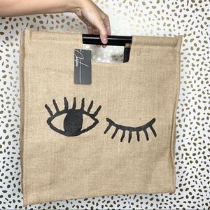 Chateau Large Graphic Burlap Tote